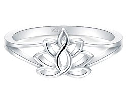BORUO 925 Sterling Silver Ring, Lotus Flower Yoga High Polish Tarnish Resistant Comfort Fit Wedding Band 2mm Ring