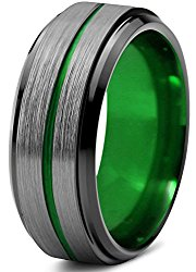 Chroma Color Collection Tungsten Wedding Band Ring 8mm for Men Women Blue Red Green Purple Black Center Line Step Beveled Edge Brushed Polished