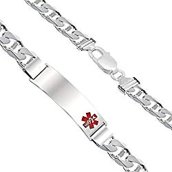 Customizable Men's 0.925 Sterling Silver 9mm Anchor Medical Alert ID Bracelet, 6.5in to 8in Length