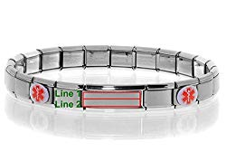 Medical Alert ID Bracelet – Laser Engraved (Personalization possible), Sizeable & Stretchable, Italian Style Modular Charm Links, Fits: Women, Men, Kids – SELECT YOUR WRIST SIZE