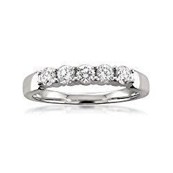 Platinum 5-Stone Round Diamond Bridal Wedding Band Ring (1/2 cttw, H-I, SI1-SI2)