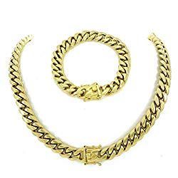30″ Gold Miami Cuban Link Chain with 8.5″ Bracelet for Men! SET! Heavy 14k Gold Plated Stainless Steel Looks Like Solid Gold