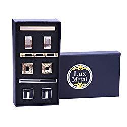 BodyJ4You 9PCS Cufflinks Tie Clips Button Shirt Men Knot Black Silvertone Goldtone Jewelry Set Gift Box