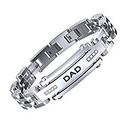 COOLMAN DAD Bracelets Adjustable Bracelets 8.5-9 Inch Stainless Steel Bracelet Dad Engraved