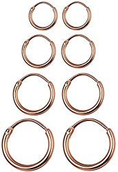 LOYALLOOK 4 Pairs Stainless Steel Basic Small Large Endless Hoop Earrings Silver Golden Rose Tone Hoop Earrings 10-20MM