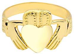 Men's 10k Yellow Gold Traditional High Polish Band Irish Claddagh Ring