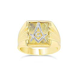 Men's Contemporary 14k Two-Tone Yellow Gold Square and Compass Freemason Ring