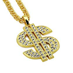 NYUK Mens Gold Chain Necklace Dollar Sign Pendant Costume Hip Hop Jewelry