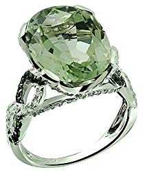 RB Gems Sterling Silver 925 Ring GENUINE GEMSTONE Oval 16×12 mm, RHODIUM-PLATED Finish, Knot Style
