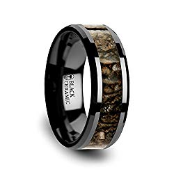 SILURIAN Dinosaur Bone Inlaid Black Ceramic Beveled Edged Ring – 8mm