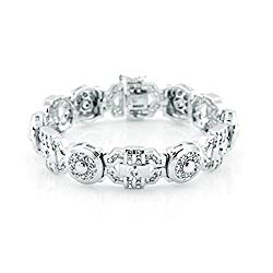 Sterling Manufacturers Men's Fancy Sterling Silver .925 Bracelet with Channel-Set Baguette and Round Cubic Zirconia (CZ) Stones, Box Lock, Platinum Plated. Sizes 8″ 9″. By