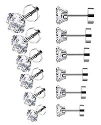 YOVORO 6 Pairs 18-20G Stainless Steel Stud Earrings for Men Women Cartilage Ear Piercings Helix Tragus Barbell 3-8mm