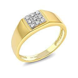10K Solid Yellow Gold Men's White Diamond Wedding Anniversary Ring