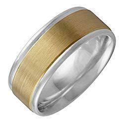 14K Two Tone Gold Center Stripe Men's Comfort Fit Wedding Band (8mm)
