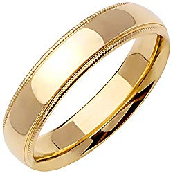 18K Yellow Gold Traditional Milgrain Edge Men's Comfort Fit Wedding Band (5mm)