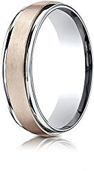 Benchmark 14k Two-Toned Gold 6mm Comfort-Fit Satin Finsh Design Band, (Sizes 6-13)