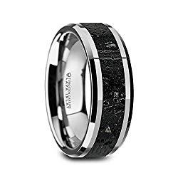 KILAUEA Men's Polished Tungsten Wedding Band with Black & Gray Lava Rock Stone Inlay & Polished Beveled Edges – 8mm