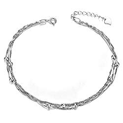 Mmiiss Multi Layer Chain Anklets with Small Beads 925 Sterling Silver Fashion Anklets for Woman