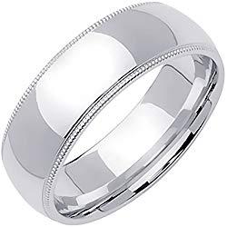 Platinum Traditional Milgrain Edge Men's Comfort Fit Wedding Band (7mm)