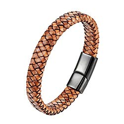 CHOMAY Braided Genuine Leather Bracelet Stainless Steel Clasp Bangle Wrist Cuff Gift Box