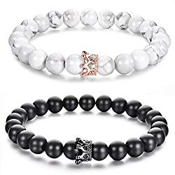 Distance Couple Bracelets with CZ Crown King&Queen His and Hers Natural Stone 8mm Beads Bracelet