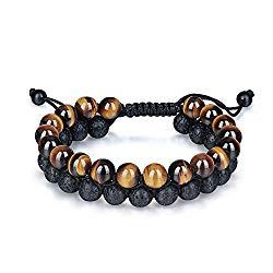 Haskare Tiger Eye Lava Rock Essential Oil Diffuser Bracelet Double Natural Stone Healing Bead Bracelet adjustable