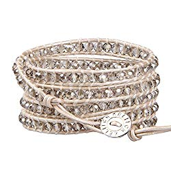 KELITCH Fashion Gray Crystal Beaded 5 Wrap Bracelet On Leather Chain New Jewelry