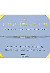 """Lucky Feather Happy 25th Birthday Gifts For Women – 14K Gold Dipped Beads Bracelet on Adjustable 7""""- 8"""" Cord – Turning 25 Birthday Gifts For Her"""
