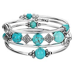 Pearl&Club Beaded Bangle Wrap Turquoise Bracelet – Fashion Bohemian Jewelry Multilayer Charm Bracelet with Thick Silver Metal Beads for Women Girls Gifts (Turquoise)
