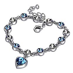 Ronglai Jewelry Love Heart Ocean Blue Crystal Bracelet for Women and Teens Sapphire Birthstone Charm Eternal Love Bangle (Blue Crystal Bracelet)