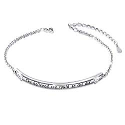 """SILVER MOUNTAIN Sterling Silver Engraved Inspirational Adjustable Bracelet """"She Believed She Could So She Did"""" Gift for Her, Women, Friendship"""