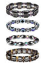 Thunaraz 4Pcs Hematite Magnetic Bracelet For Men Women Healing Bangle Bracelet Colorful Natural Stone Therapy Bracelets