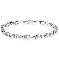WOSTU Women Tennis Bracelets Luxury White Gold Plated Bracelet with Sparkling Cubic Zirconia for her