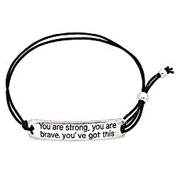 You Are Strong, You Are Brave, You've Got This' Inspirational Stretch Bracelet – One Size Fits All Motivational Bracelet With Engraved Plaque & Black Elastic