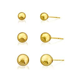3-Pair 10k Gold Ball Earrings Set 4mm 5mm 6mm