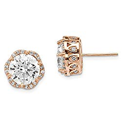 Cyber Monday Deals – 10k Tiara Collection Rose Gold Cubic Zirconia Cz Post Stud Ball Button Earrings Yc Set Fine Jewelry For Women Gift Set