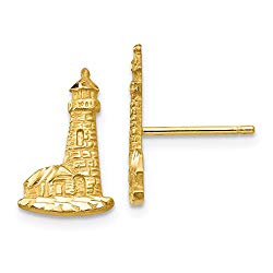 Cyber Monday Deals – 14k Yellow Gold Lighthouse Post Stud Ball Button Earrings Travel Fine Jewelry For Women Gift Set