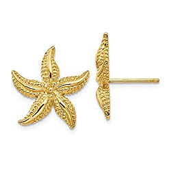 Cyber Monday Deals – 14k Yellow Gold Starfish Post Stud Ball Button Earrings Animal Sea Life Fine Jewelry For Women Gift Set