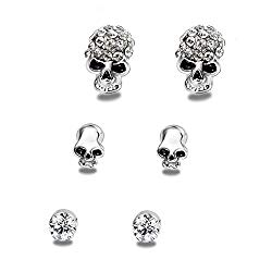 EVBEA Cute Skull Studs Womens Gothic Cool Statement Skeleton Jewelry Candy Skull Earrings for Girls