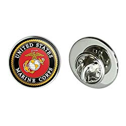 Graphics and More Marines USMC Emblem Black Yellow Red Officially Licensed Metal 0.75″ Lapel Hat Pin Tie Tack Pinback
