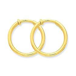 14k Yellow Gold Non Pierced Clip On Hoops Hoop Earrings Ear Set Fine Jewelry For Women Gift Set