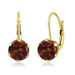 14K Yellow Gold Red Garnet Women's Earrings 2.00 Ctw Gemstone Birthstone Round 6MM