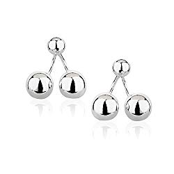 925 Sterling Silver Round Sphere Ball Stud Earrings w/or w/out Ear Jacket, 4-12 mm