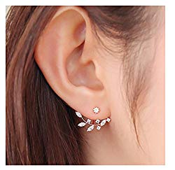 Elensan Rose Gold Leaf with Cz Crystal Ear Cuff Earrings Jacket for Woman Girls