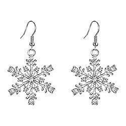 EVER FAITH Austrian Crystal Winter Party Snowflake Pierced Hook Dangle Earrings Clear