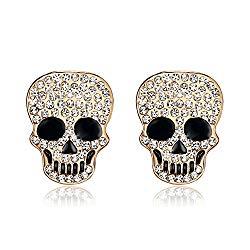 Lee Island Fashion 18K Gold Plated White Crystal Skull Stud Earrings For Women