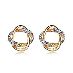 Lee Island Fashion Jewelry 18K Gold Plated Multicolor Austrian Crystal Love Knot Stud Earrings For Woman Girl