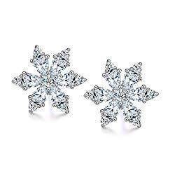 Paialco Christmas Snowflake Cubic Zirconia Stud Earrings 925 Sterling Silver Women Ear Studs
