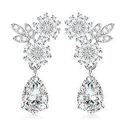 Roslynd Clip on Earrings for Women, Cz Teardrop Earrings 14k White-Gold-Plated, Cubic Zirconia Bridal Earrings