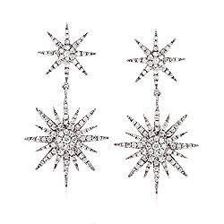 Ross-Simons 0.94 ct. t.w. Diamond Starburst Drop Earrings in 14kt White Gold